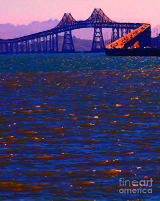 Bay Area Digital Art - Sun Setting Beyond The Richmond-san Rafael Bridge - California - 5d18435 by Wingsdomain Art and Photography