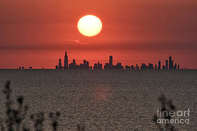 Sun Setting Over Chicago Art Print by Christopher Purcell