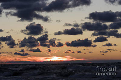 Sun Setting With Dramatic Clouds Over Lake Michigan Art Print by Christopher Purcell