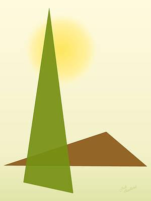 Digital Art - Sun Tree Mountain Abstract by Judi Quelland