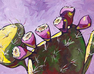 Prickly Pear Painting - Sunbathing by Sandy Tracey