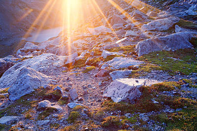 Art Print featuring the photograph Sunburst Over Abyss Lake by Jim Garrison