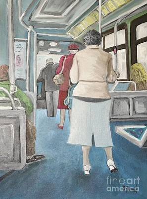 Montreal City Scenes Painting - Sunday Morning Bus Stop by Reb Frost