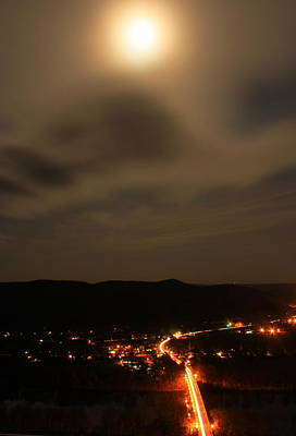 Sunderland By Moonlight From Mount Sugarloaf Art Print