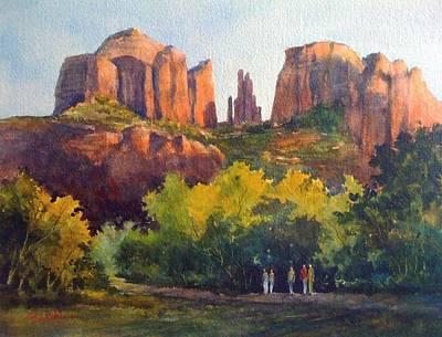 Painting - Sundown At Cathedral Rock by Tina Bohlman