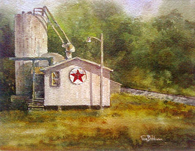 Texaco Sign Painting - Sundown At The Sign Of The Star by Tina Bohlman