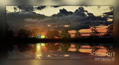 Sundown In The Lake Art Print