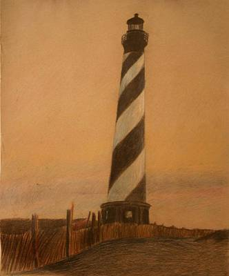Beach Sunset Drawing - Sundown Lighthouse by Dexter  Blanton