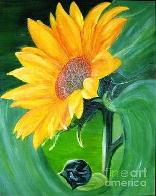 Art Print featuring the painting Sunflower by AmaS Art