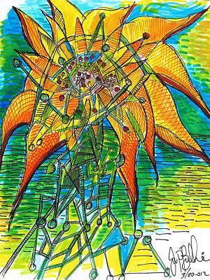 Sunflower Construction Art Print by Jon Baldwin  Art