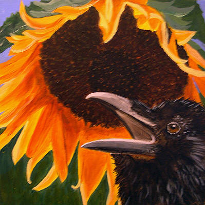 Sunflower Crow Print by Kathleen A Johnson