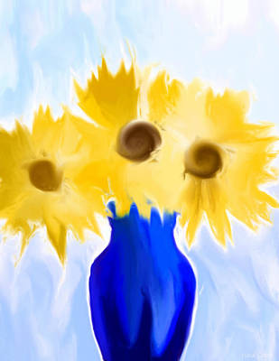 Digital Sunflower Painting - Sunflower Fantasy Still Life by Heidi Smith