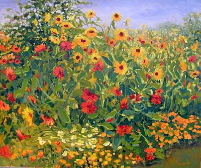 Painting - Sunflower Fiesta by Liliane Fournier