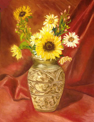 Painting - Sunflower In A Copper Vase by Calliope Thomas