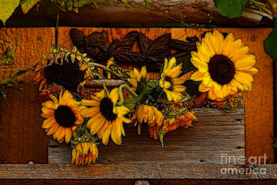 Sunflower Mixed Media 2 Art Print by Marjorie Imbeau