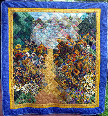 Tapestry - Textile - Sunflower Path Quilt by Sarah Hornsby