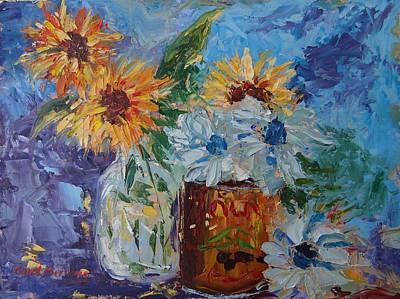 Sunflower Still Life Two Art Print by Carol Berning