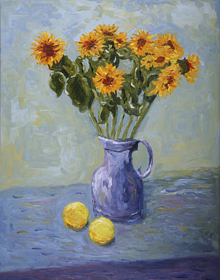 Painting - Sunflowers And Lemons by John Farley