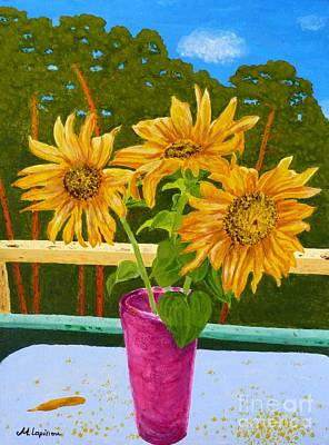 Sunflowers And Pines Print by Maria Malevannaya