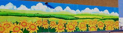 Sunflowers-exterior Mural Art Print by Jennifer Little