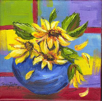 Painting - Sunflowers In A Blue Bowl by Terry Taylor