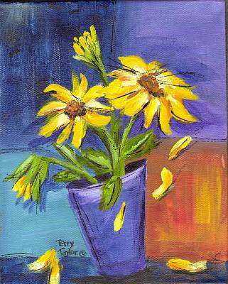 Painting - Sunflowers In A Blue Pot by Terry Taylor