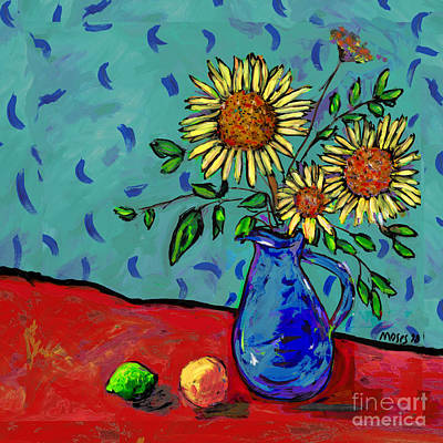 Sunflowers In A Milk Pitcher Art Print