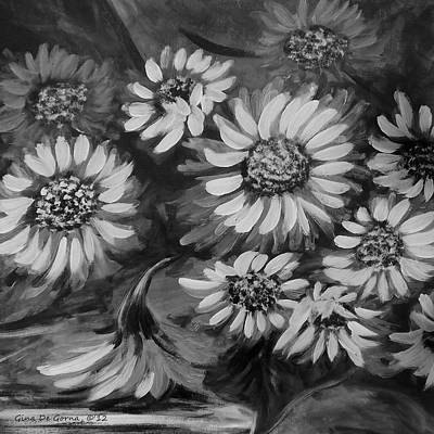Painting - Sunflowers In Black And White by Gina De Gorna