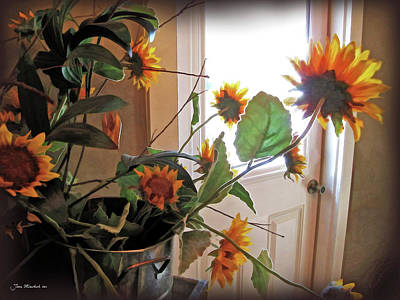 Photograph - Sunflowers In Pots by Joan  Minchak