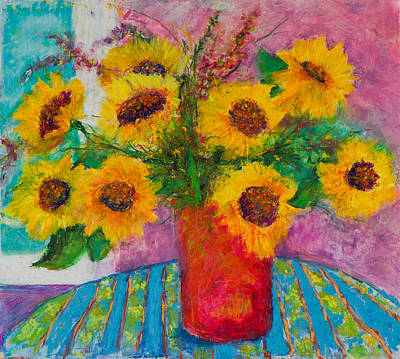 Pastel - Sunflowers In Red Vase by Pat Olson