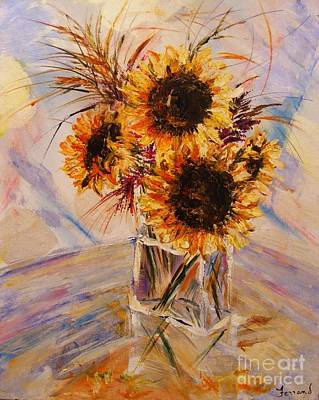 Art Print featuring the painting Sunflowers by Karen  Ferrand Carroll