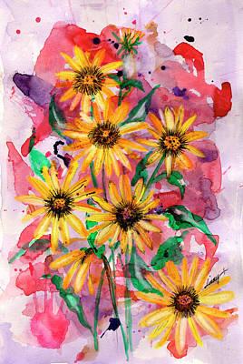 Sunflowers Art Print by Linda Palmer