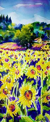 Sunflowers Of Tuscany  Sold Original Prints Available Art Print by Therese Fowler-Bailey