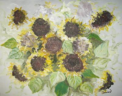 Sunflowers Profile Art Print by Raymond Doward