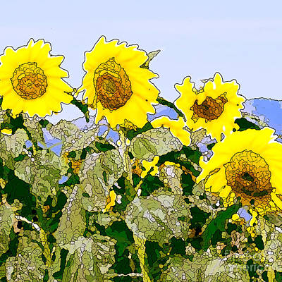Painting - Sunflowers Sunbathing by Artist and Photographer Laura Wrede