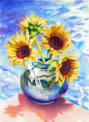 Painting - Sunflowers Sunbathing by Nancy Tilles