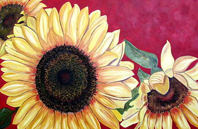 Sunflowers Three  Art Print by Maria Soto Robbins