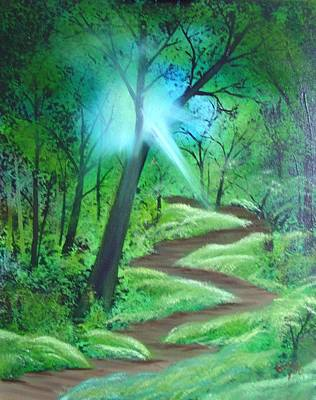 Art Print featuring the painting Sunlight In The Forest by Charles and Melisa Morrison