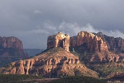 Cathedral Rock Photograph - Sunlight Through Rain Clouds by Charles Kogod