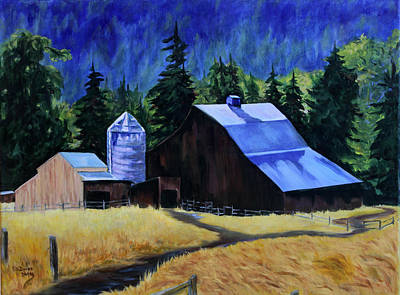 Painting - Sunlite Barn by Donna Drake