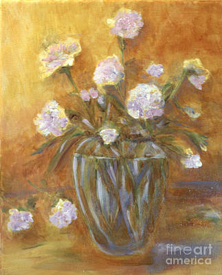 Pop Art - Sunny Carnations in a Vase by Claire Bull