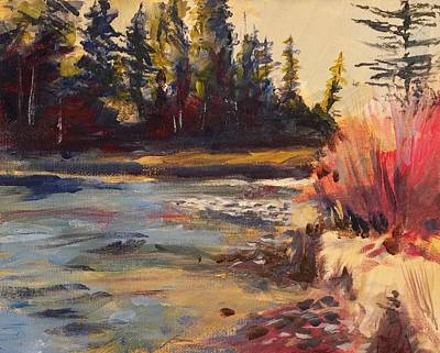 Little Red River Painting - Sunny Colorado Wooded Stream by Walt Maes