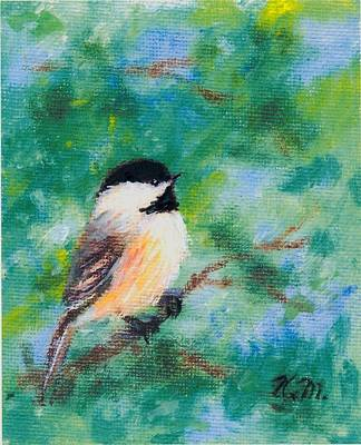 Sunny Day Chickadee - Bird 1 Art Print by Kathleen McDermott