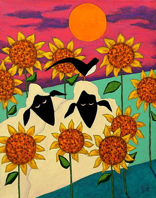 Primitive Folk Art Painting - Sunny Disposition by John Blake