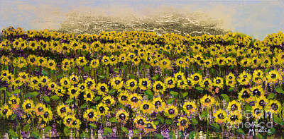 Sunny Field Series With Gold Leaf By Vic Mastis Art Print by Vic  Mastis