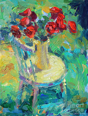 Flowers In A Vase Painting - Sunny Impressionistic Rose Flowers Still Life Painting by Svetlana Novikova