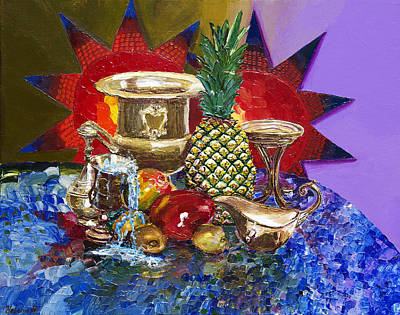 Glass Table Reflection Painting - Sunny Tropical Fruits  by Yelena Rubin