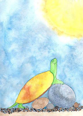 Mixed Media - Sunny Turtle by Debi Hammond