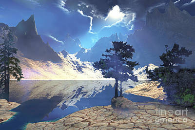 Mountainous Digital Art - Sunrays Shine Down On This Beautiful by Corey Ford