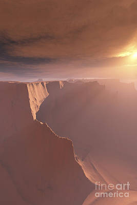 Sunrays Shine Down On This Canyon Art Print by Corey Ford